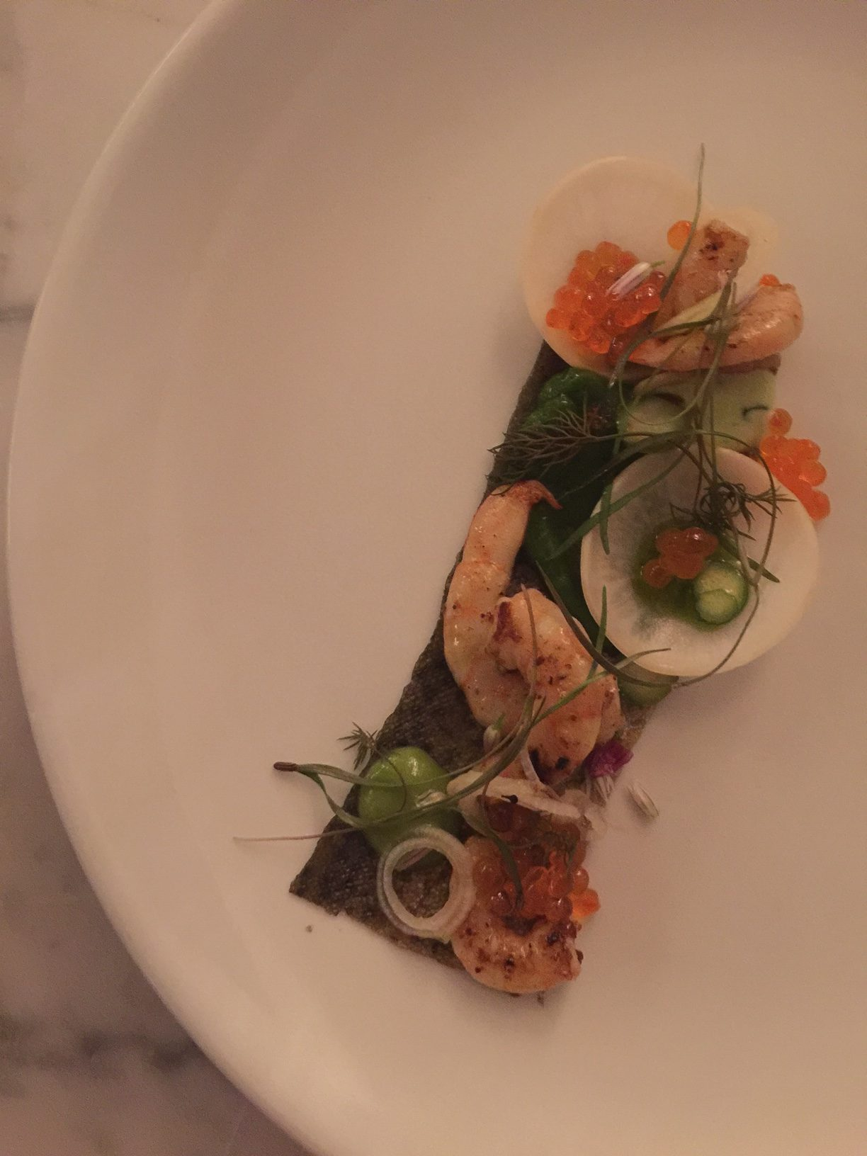 Shrimp, Trout Skin and Roe at The Finch Restaurant by Mad Hungry