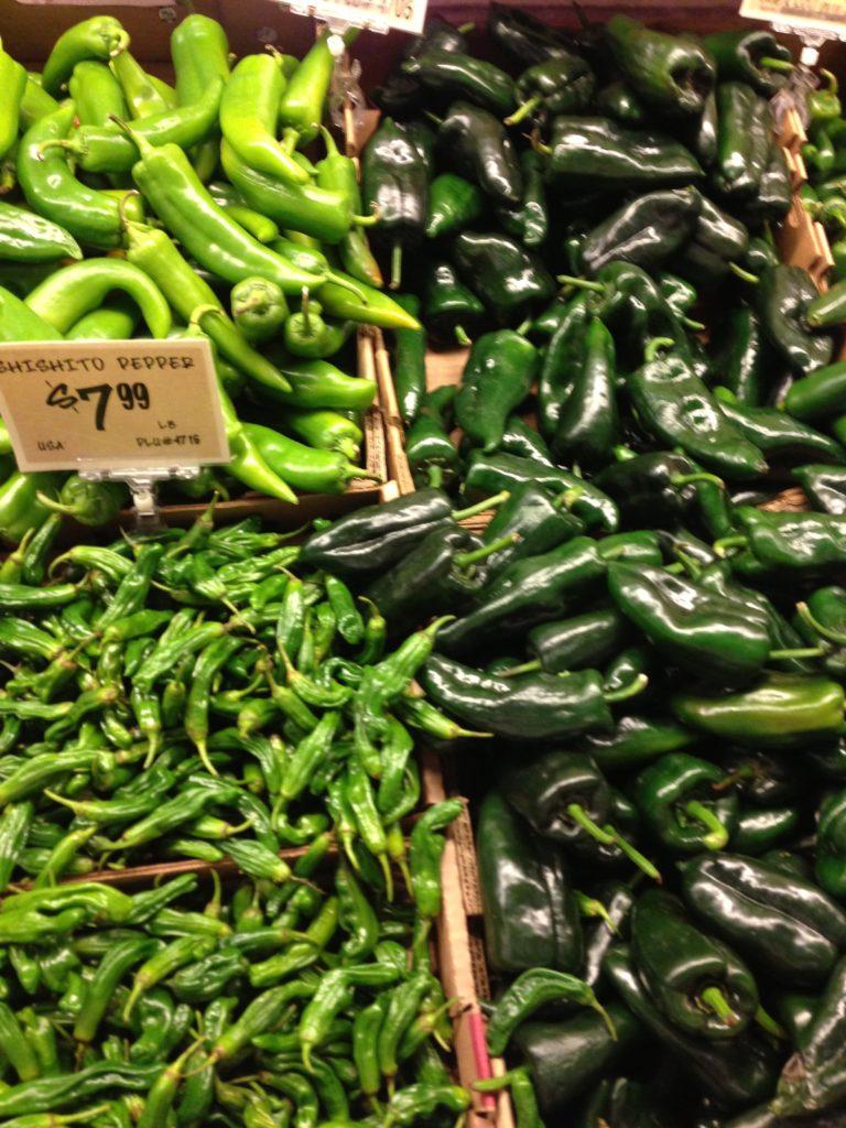 poblano, serrano peppers